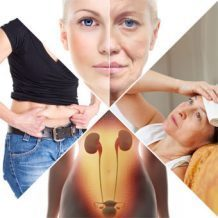 four different images depicting menopause