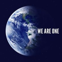 "earth with caption ""we are one"""