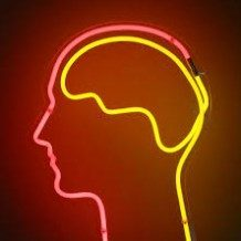silhouette of head and brain made with neon