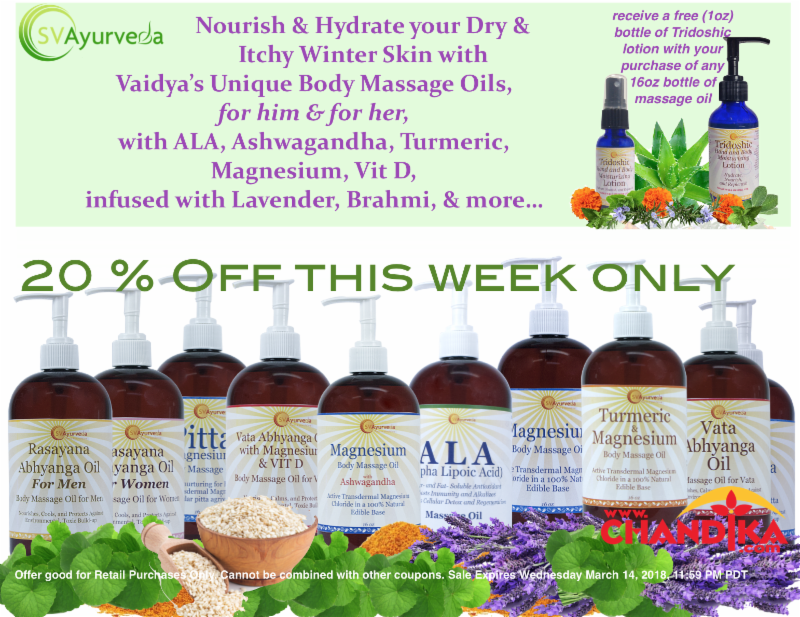 Ad with 20% off discount for SVAyurveda massage oils