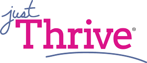 Just Thrive in blue and fuchsia text color
