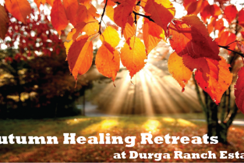 "Autumn Leaves with ""Autumn Healing Retreats at Durga Ranch Estate"" text at the bottom"