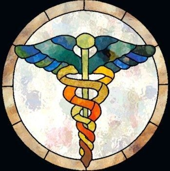 stained glass caduceus
