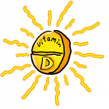 Drawing of sun as a vitamin d tablet