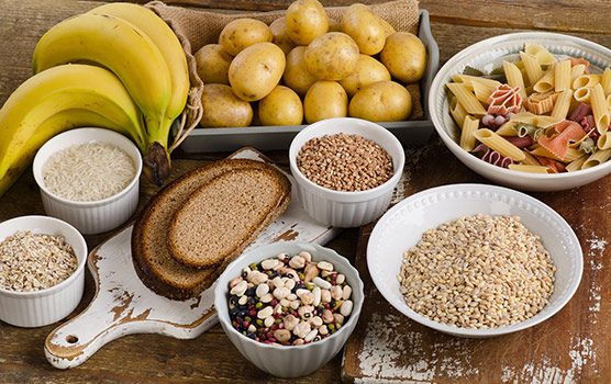 Breads, fruits, vegetables, pasta, and nuts