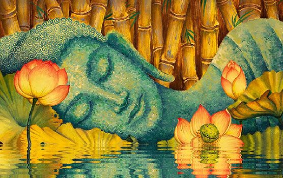 Buddha was right all along its when you eat not what you eat painting of blue buddha laying in water with lotus flowers mightylinksfo Image collections
