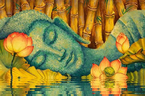 painting of blue buddha laying in water with lotus flowers