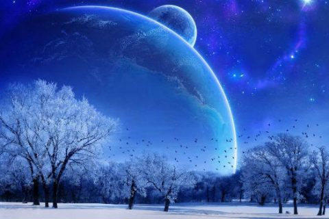 Winter Solstice snowy landscape with planets in the sky