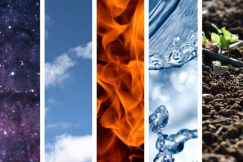 The five elements: space, air, fire, water, earth