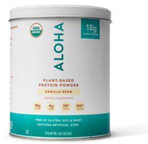 Large tin of Vanilla ALOHA plant-based protein powder