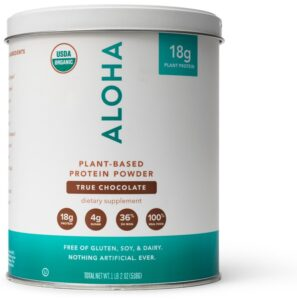 Large tin of Chocolate ALOHA plant-based protein powder