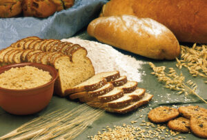 Variety of gluten products like bread and grains
