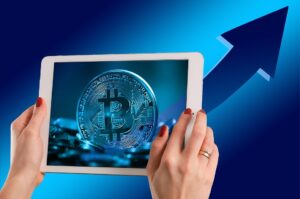 Bitcoin Currency image on Ipad for coin transfer