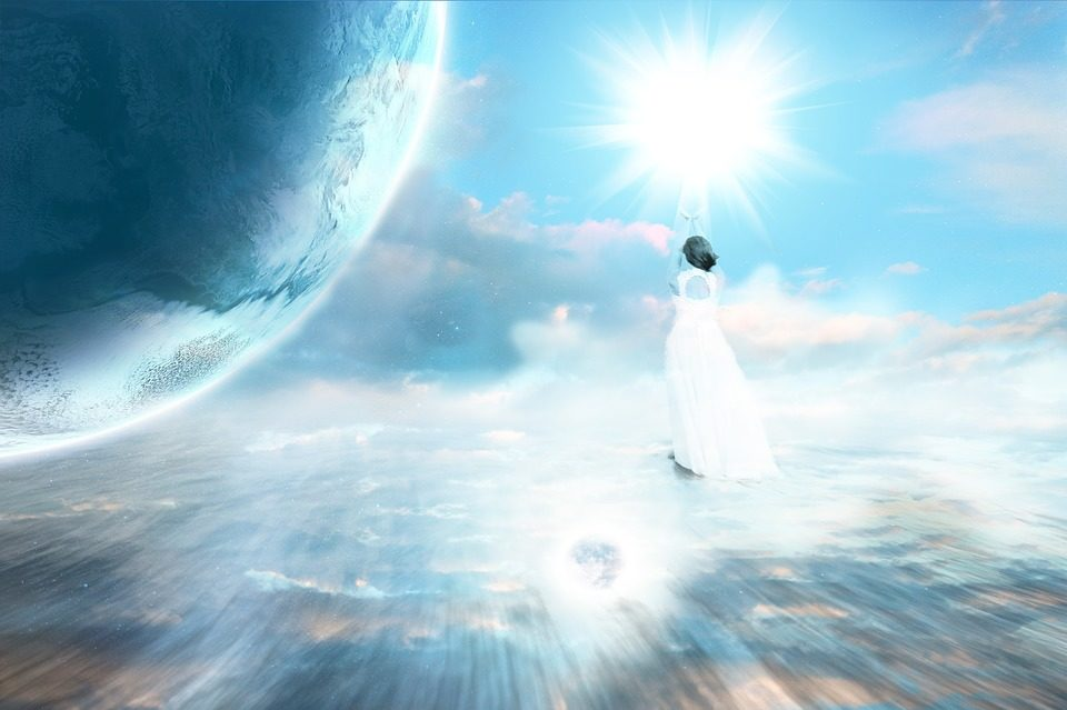 woman in a white dress walking towards the sun standing near a blue planet