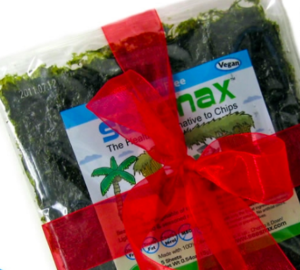 SeaSnax gift card wrapped up in red ribbon with a bow