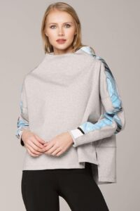 blonde haired wearing light taupe colored amazonite divine pullover