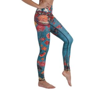blue leggings with orange, yellow, and red flowers