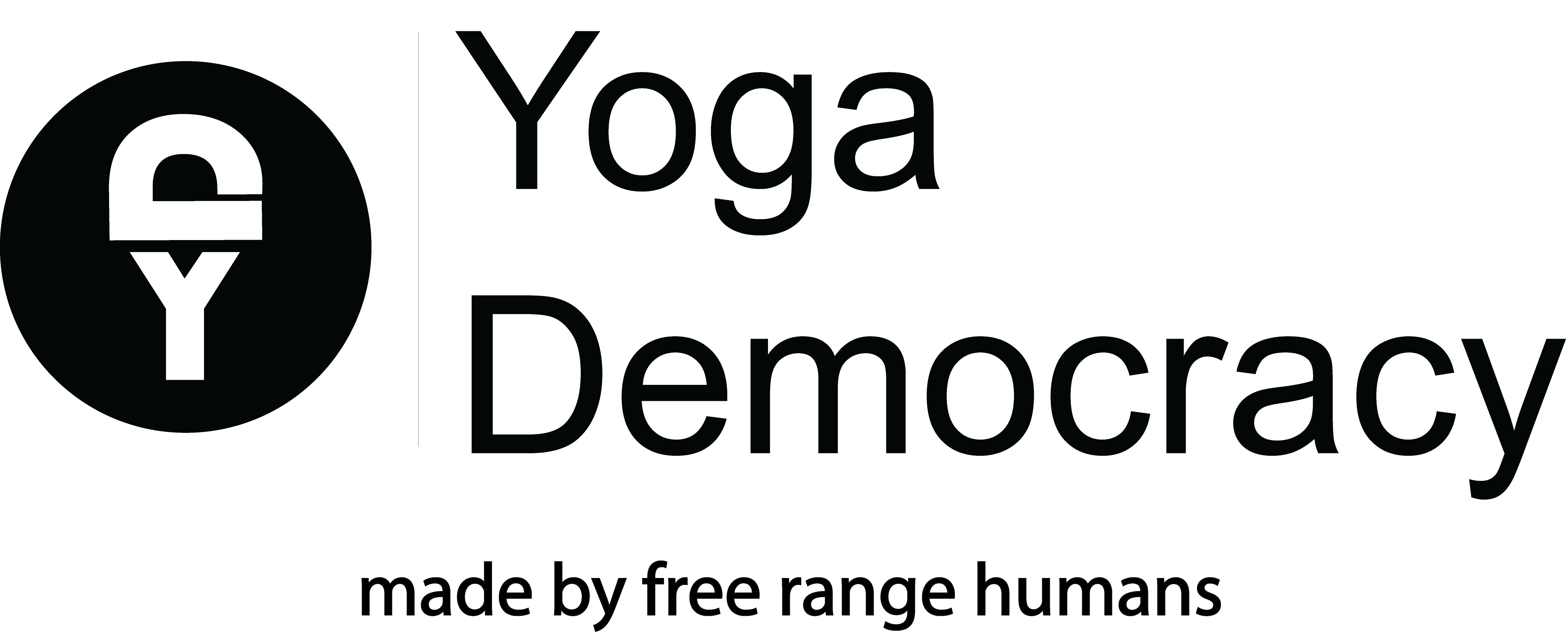yoga democracy logo, the letter y is in the middle of a black circle with the letter d laying horizontally on top of the y