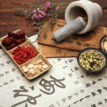 Chinese medical herbs and mortar and pestle