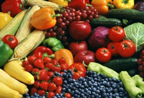 Montage of fruits and vegetables