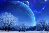 Winter Solstice Prayer snowy landscape with planets in the sky
